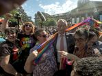 Australian Opposition leader Bill Shorten celebrates the same-sex marriage postal survey Yes result in Melbourne. Picture: AAP/Luis Enrique Ascui