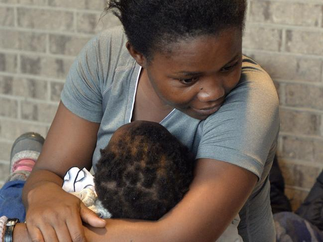Residents of Savannah, Georgia, such as Furaha Marasi and her three-month old, evacuated as Dorian headed for the US. Picture: AP
