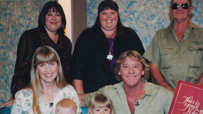 Steve, Terri, Bindi and Robert Irwin pictured with Steve's sisters Joy and Mandy and dad Bob.