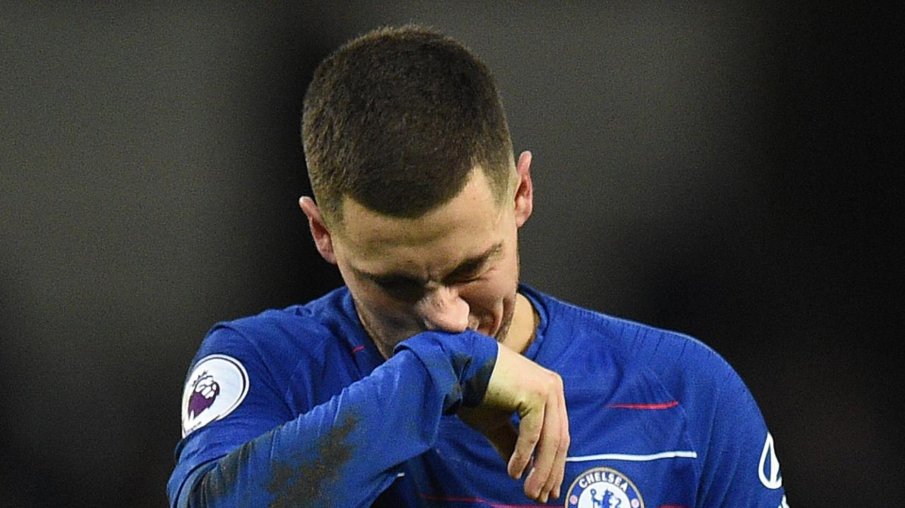 Eden Hazard reacts after the thrashing.