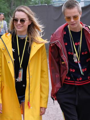 Margot Robbie and Cara Delevingne attend day one of Glastonbury. Picture: Getty