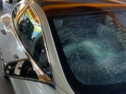 The Albury vandal smashed the Tesla's windscreen and broke the side mirror. Picture: Jules Boag