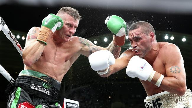Danny Green and Anthony Mundine are enemies in the ring, but friends in real life. Picture: Sarah Reed