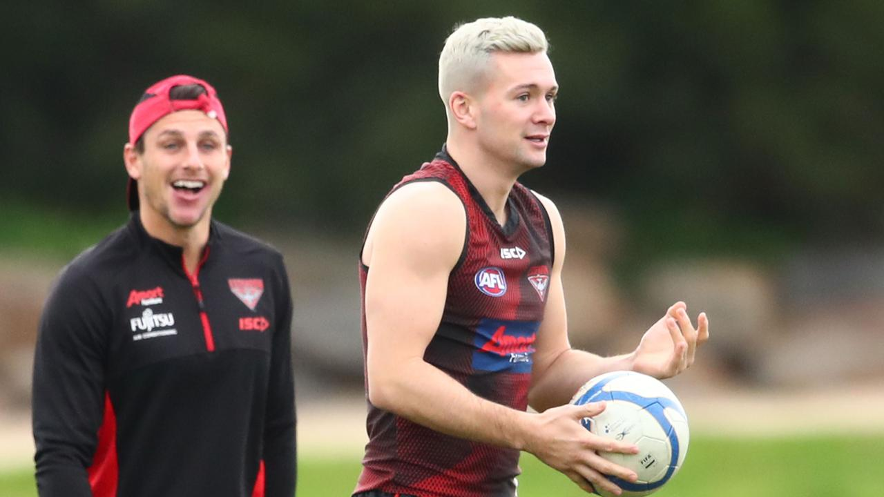 Conor McKenna is one of three Essendon players with white hair. Photo: Scott Barbour/AAP Image.