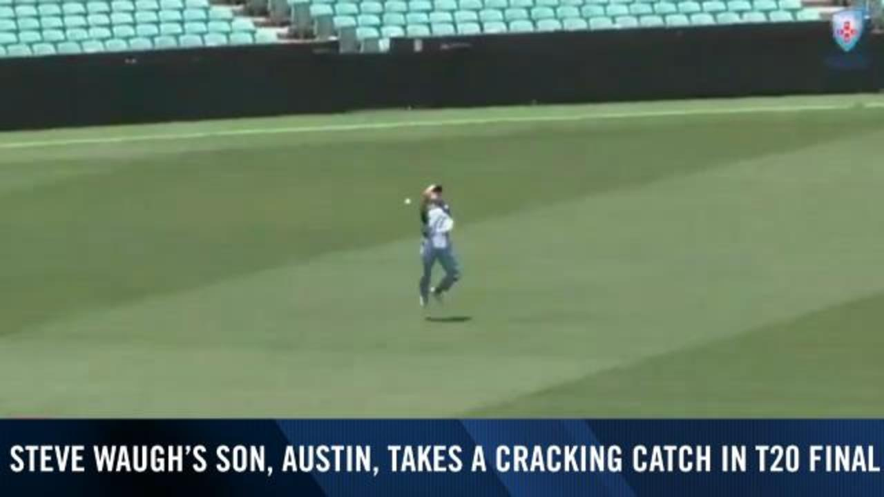 Waugh junior takes epic catch