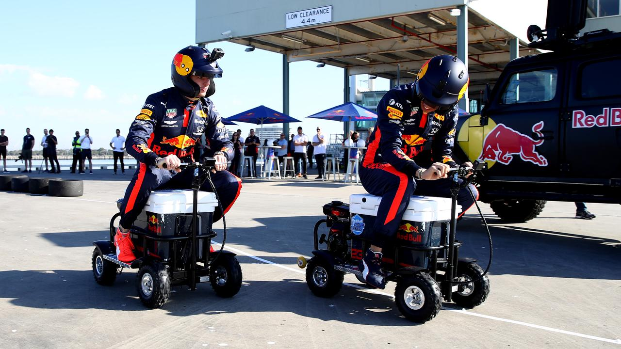Max Verstappen and Alex Albon at Wednesday's activation.