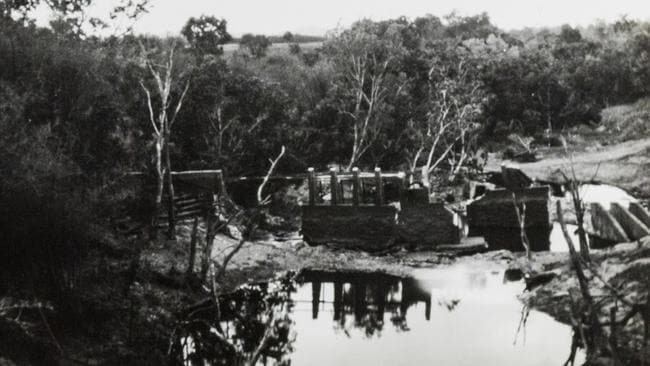 Verburg's damaged weir when it collapsed in 1930.