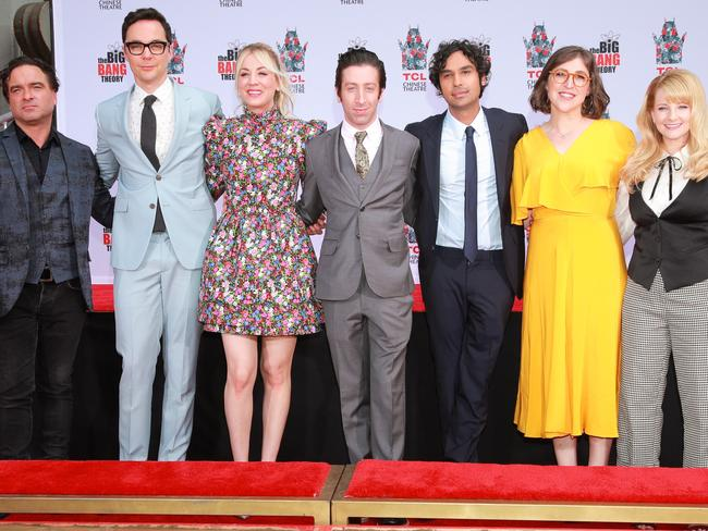 (L-R) Johnny Galecki, Jim Parsons, Kaley Cuoco, Simon Helberg, Kunal Nayyar, Mayim Bialik and Melissa Rauch from the cast of The Big Bang Theory attend their handprint ceremony at the TCL Chinese Theatre IMAX. Picture: Getty