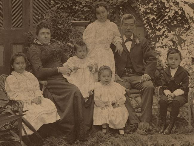 Mei Quong Tart is pictured with his wife Margaret Scarlett and five of their six children. Picture: State Library of NSW.