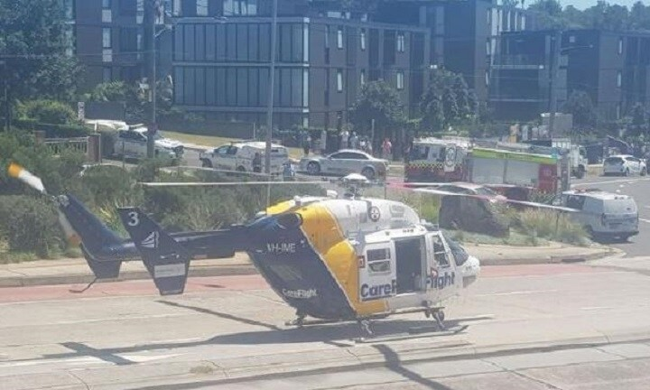Careflight lands on Pittwater Rd. Picture: Anna Brinkman