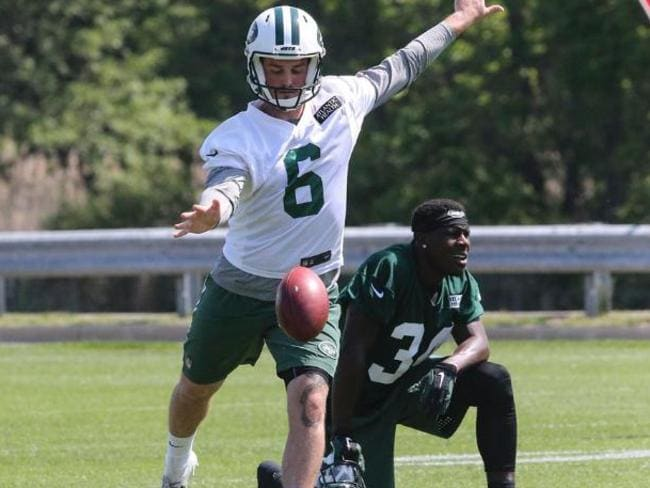 Hackett in action at Jets training camp before he was waived. Picture: NY Jets
