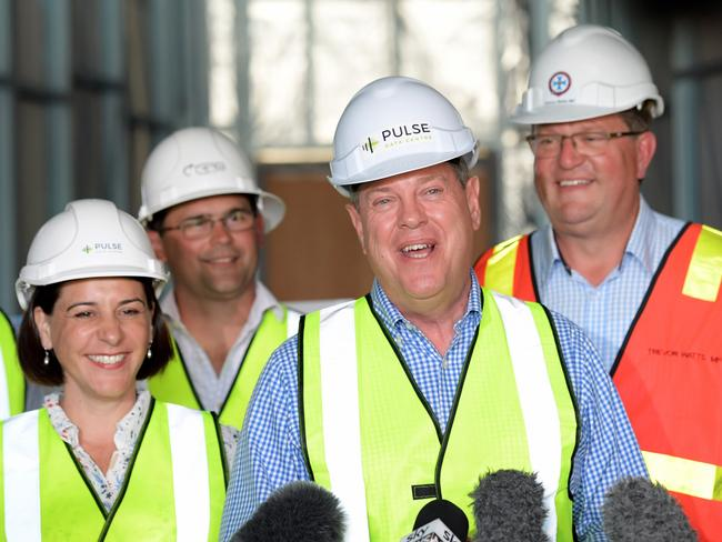 It's election time, so there's hard hats aplenty. Picture: AAP Image/Tracey Nearmy