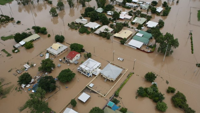 An aerial view of the flooded Queensland town of Emerald. Picture: James Law