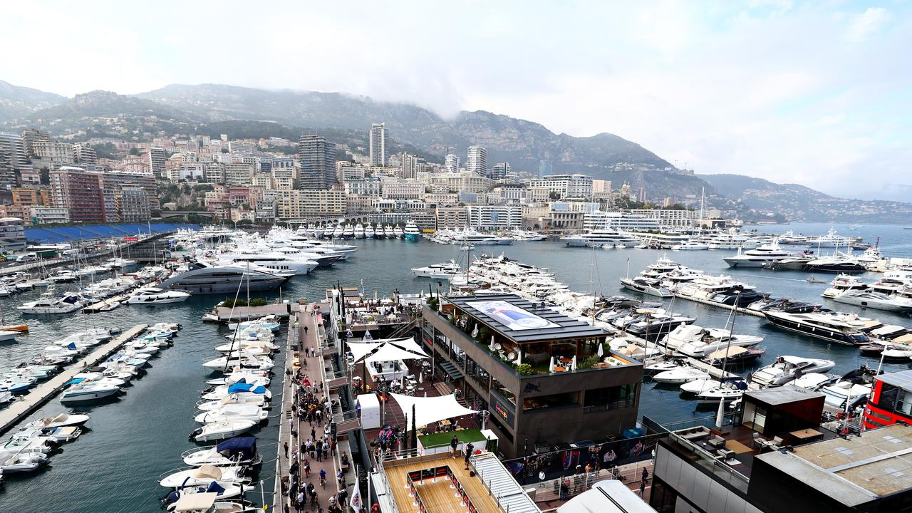 The Red Bull Racing and Scuderia Toro Rosso Energy Station is floating in the Monaco harbour.