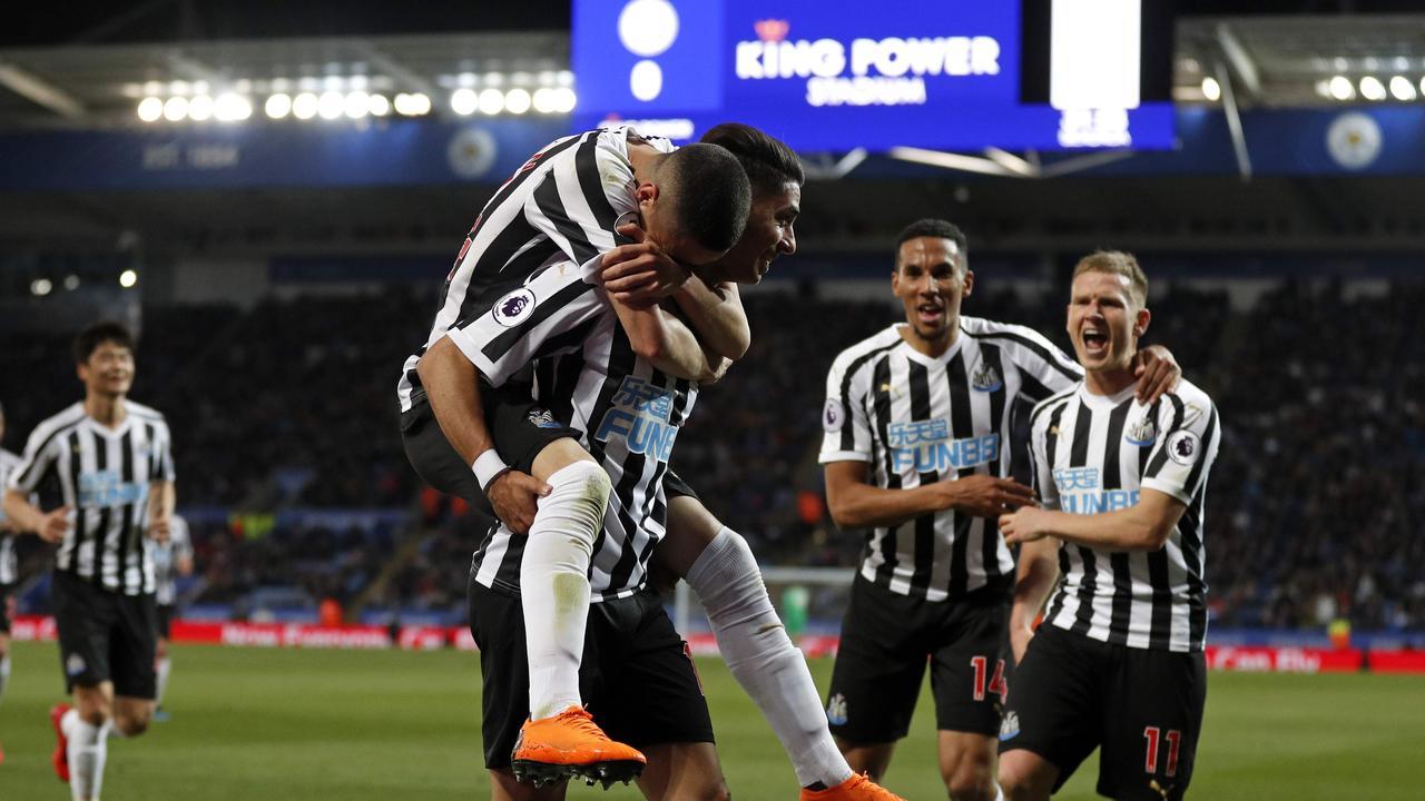 Ayoze Perez celebrates his winner, which takes Newcastle closer to safety