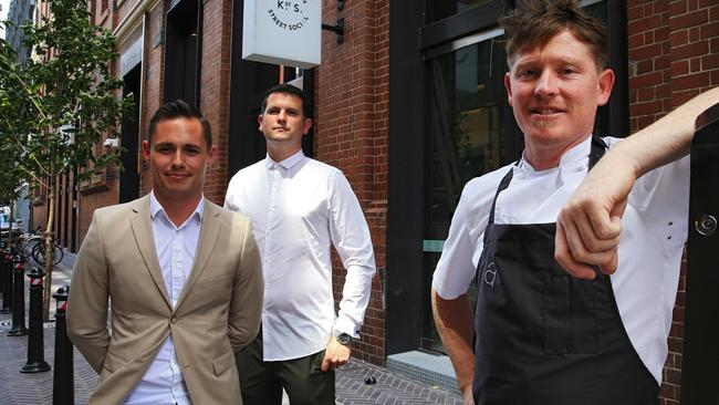 Kensington St Social's general manager Michael Gavaghan, beverage director Matt Fairhurst and executive chef Rob Daniels, at the Chippendale restaurant that will open on January 13. Picture: Toby Zerna
