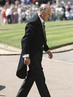 Britain's Prince Philip arrives for the wedding ceremony of Prince Harry and Meghan Markle at St. George's Chapel in Windsor Castle in Windsor, near London, England, Saturday, May 19, 2018. Credit: Gareth Fuller/pool photo via AP