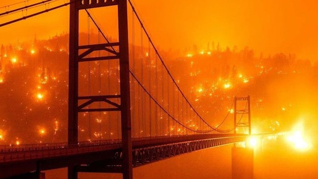 California wildfires: Shocking suspension bridge picture causing hysteria – NEWS.com.au