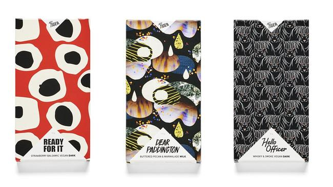 The distinctive packaging on the Hey Tiger chocolate bars.