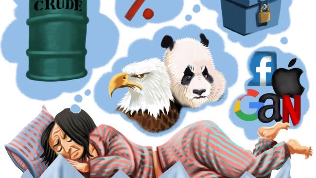 Sleeping problems? There's plenty of worry in investors' minds. Illustration: John Tiedemann
