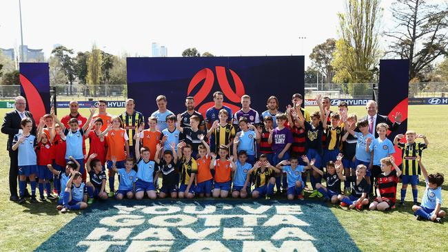 Players and fanbassadors at the 2017/18 A-League Season Launch. Picture: Getty Images