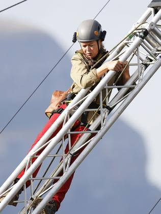 Taylor had to climb a tower over a canyon to win food. Picture: Nigel Wright.
