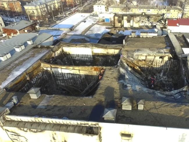 An aerial view of the multi-story shopping centre after a fire, in the Siberian city of Kemerovo. Picture: Russian Ministry for Emergency Situations photo via AP