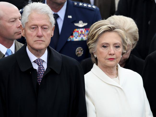 Former President Bill Clinton and wife Hillary Clinton, who lost to Mr Trump, at the inauguration. Picture: Getty