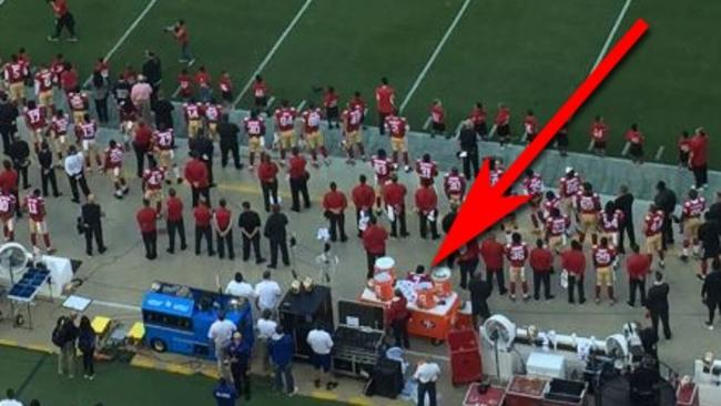 Kaepernick's at the end of the arrow. You have to squint.