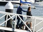 Pippa Middleton and her new husband James Matthews with friends at Sydney Sea Planes terminal, Rose Bay today. Picture: Justin Lloyd