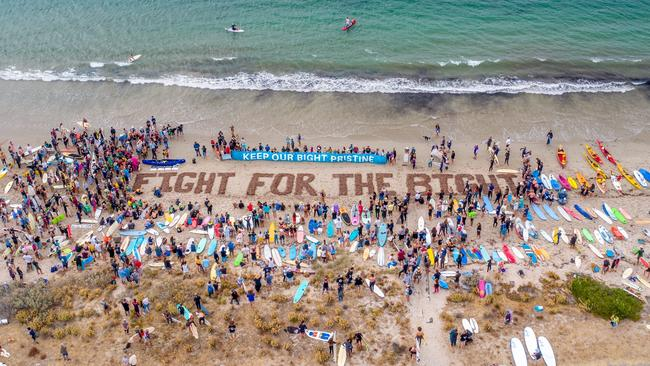 The Fight for the Bight protest paddle at Victor Harbor. Picture: Nathan Godwin
