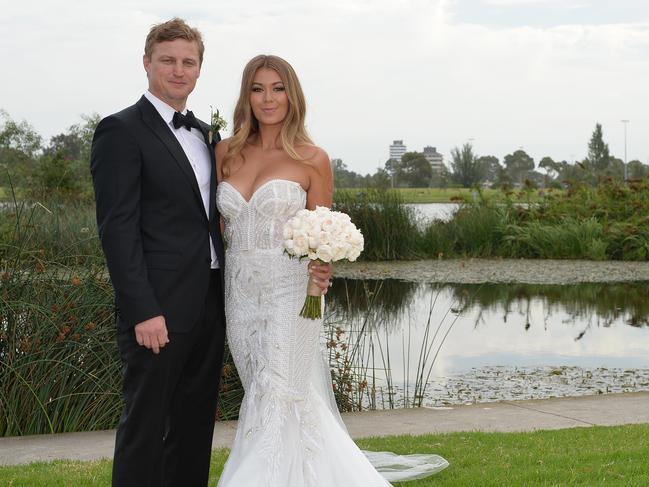 Brett Finch and Elli Johnston at their wedding in Melbourne.