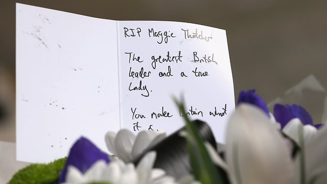 LONDON, ENGLAND - APRIL 08: A detail of a floral tribute left outside the residence of Baroness Thatcher in Chester Square on April 8, 2013 in London, England. It has been confirmed that Lady Thatcher has died this morning following a stroke aged 87. Margaret Thatcher was the first female British Prime Minster and governed the UK from 1979 to 1990. She led the UK through some turbulent years and contentious issues including the Falklands War, the miner€s strike and the Poll Tax riots. (Photo by Peter Macdiarmid/Getty Images)