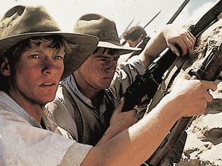 Waiting to go ... actor Mark Lee (left) at The Nek in 1981 film 'Gallipoli'.