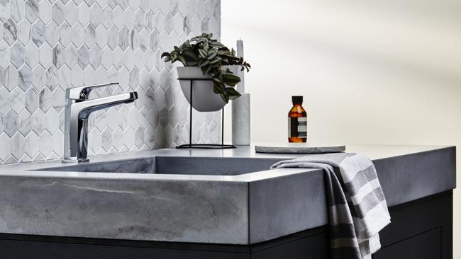 The Waipori basin mixer smartly complements this industrial-looking vanity.