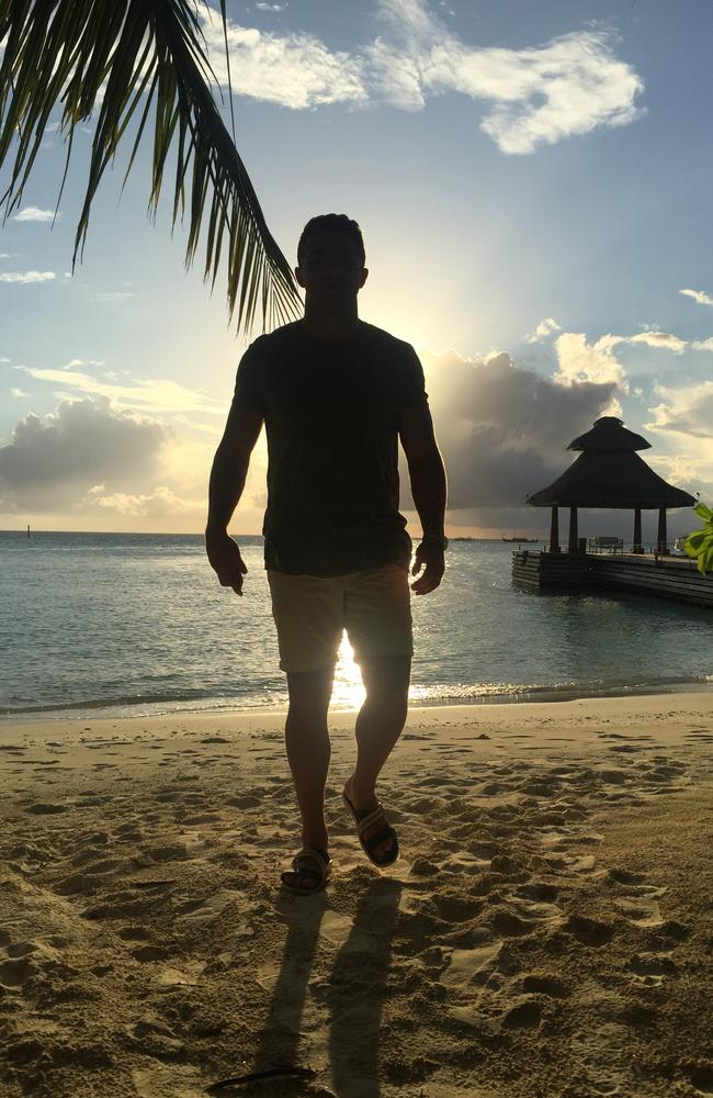You know Sam Burgess secretly loves this photo of himself backlit by the sunset. Picture: Phoebe Burgess
