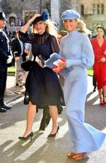 Chelsy Davy (left) and Guest arrive for the wedding of Princess Eugenie to Jack Brooksbank at St George's Chapel in Windsor Castle.. Picture date: Friday October 12, 2018. See PA story ROYAL Wedding. Photo credit should read: Matt Crossick/PA Wire