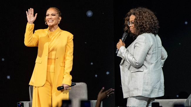 J.Lo was interviewed on stage for 'Oprah's 2020 Vision: Your Life in Focus Tour'. Picture: Getty Images.