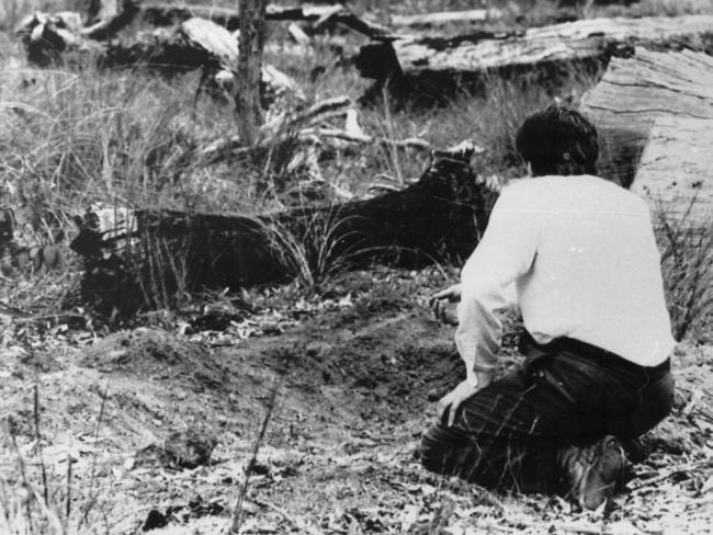 One of the shallow graves in the Glen Eagle forest off the Albany Highway. Picture: Ernie McLintock.