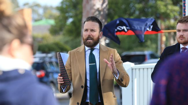 Auctioneer Kieron Hunter, of Barry Plant, Highton, at the auction of 20 James St, Belmont. Picture: Peter Ristevski