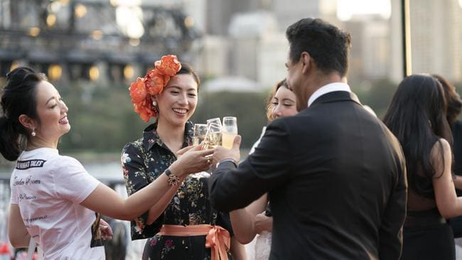 Karim Gharbi with his clients Lulu, Emily and Crystal in a scene from Ten's new Pilot Week show, Sydney's Crazy Rich Asians. Picture: Channel 10.
