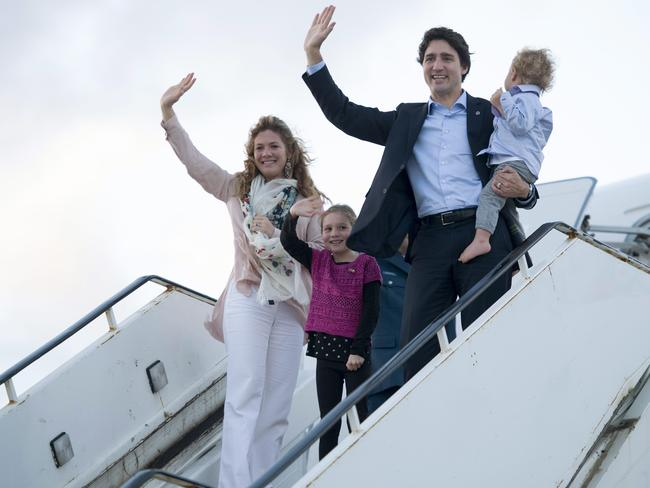 The Canadian first family: Prime Minister Justin Trudeau with wife Sophie Gregoire-Trudeau, children Hadrien and Ella-Grace leaving Malta. Picture: Adrian Wyld/The Canadian Press via AP.
