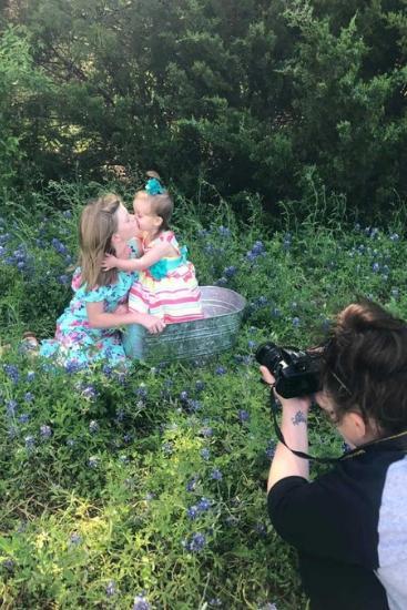 Megan's daughters were busy having their photos taken.