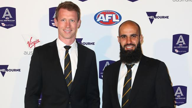 Dylan Grimes and Bachar Houli are first-time All-Australians. Pic: AAP