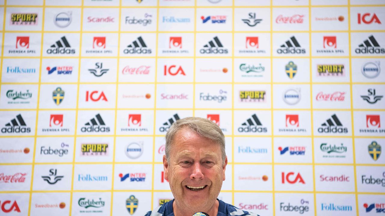Denmark's Norwegian head coach Age Hareide takes part in a press conference