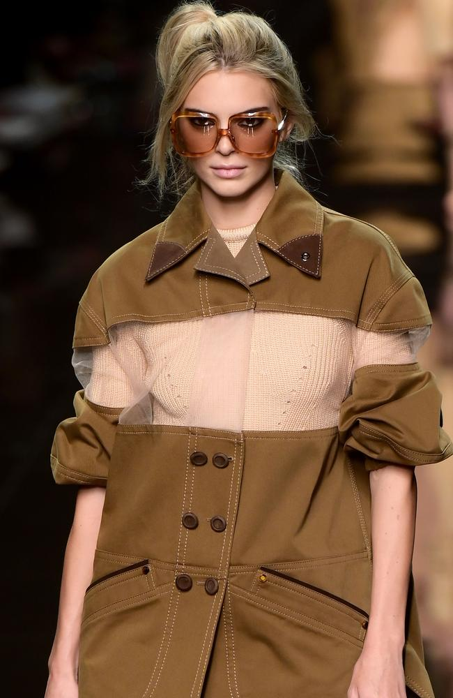 Yes, that's a blonde Kendall Jenner at Fendi. Picture: AFP