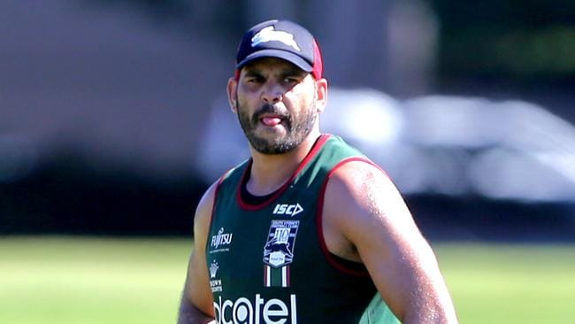 Greg Inglis watches on at South Sydney training. Picture: John Grainger