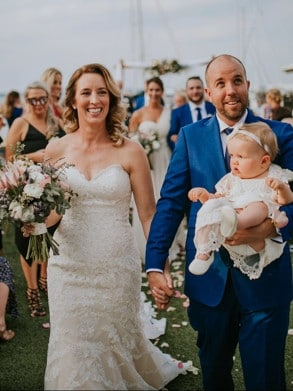 Before his illness: Emma and Jason Young on their wedding day with daughter Georgie.