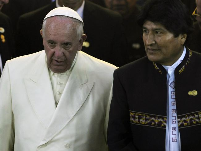 Pope Francis and Bolivian President Evo Morales ... Bolivia was the second leg of a three-nation tour of South America's poorest countries, where he has been acclaimed by huge crowds. Picture: AFP PHOTO / JORGE BERNAL