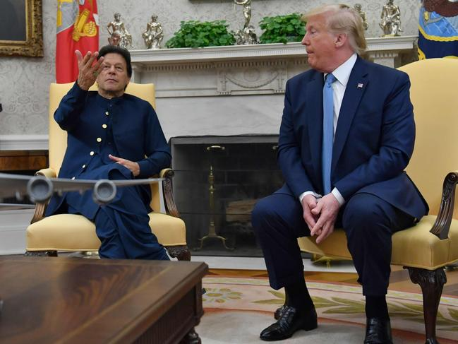 Pakistani Prime Minister Imran Khan (L) speaks during a meeting with US President Donald Trump in the Oval Office at the White House. Picture: AFP